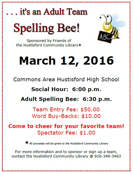 2016 adult spelling bee 187 hustisford community library